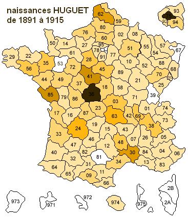naissances Huguet de 1891 à 1915