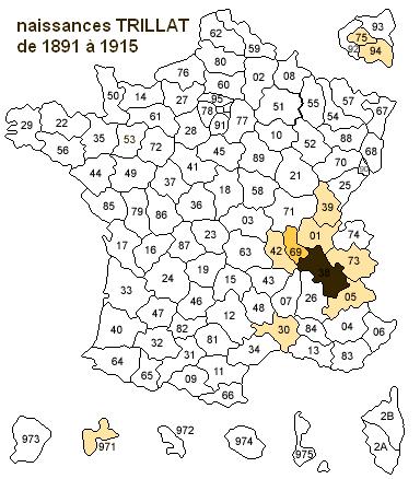 naissances Trillat de 1891 à 1915